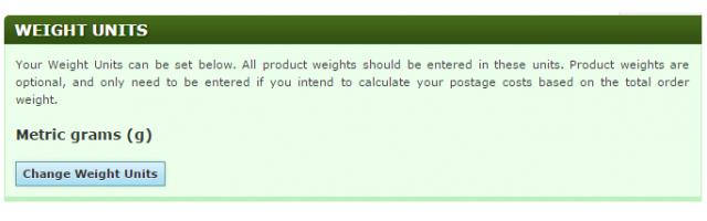Store Settings: Weight Units