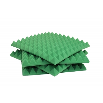 4x Green Car Insulation Foam 50mm Profiled Pyramid Egg Box Foam