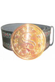 SANTA LEATHER BELT WITH COLORED EMBOSSED HOLLY LEAFS AND 5 1/2
