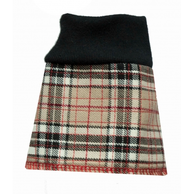 Beige and Black Tartan Feather Protector