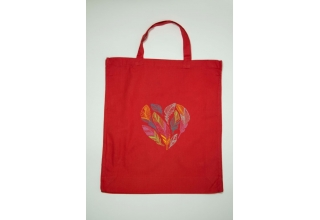 Feathered Heart Embroidered Cotton Bag Red