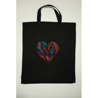 Feathered Heart Embroidered Cotton Bag Black