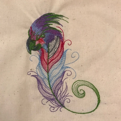 Palm Too Feather  Embroidered Cotton Bag Natural