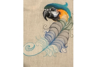 Feather Macaw Embroidered Cotton Bag Natural