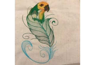 Amazon feather Embroidered Cotton Bag Natural