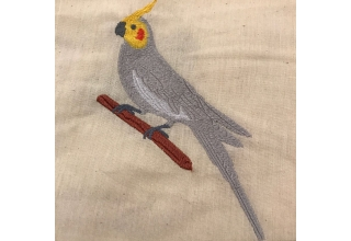 Cockatiel Embroidered Cotton Bag Natural