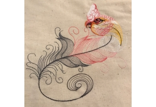 Goffin Too feather Embroidered Cotton Bag Natural