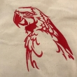 Red Macaw Embroidered Cotton Bag Natural
