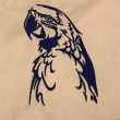 Blue Macaw Embroidered Cotton Bag White