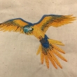 Blue and Gold Macaw Embroidered Cotton Tote Natural