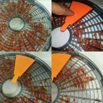 Food dehydrator sticky food removal tool punch press