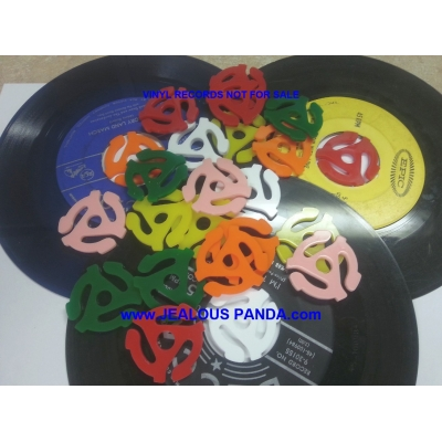"4x PLASTIC ADAPTER INSERTS for 45 RPM 7"" RECORD SNAP VINYL DJ Vintage Jukebox"