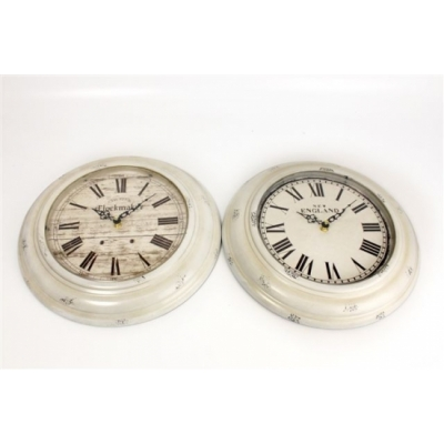 White Washed Antique Wall Clock title=