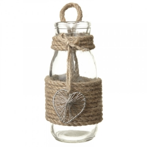 Glass Bottle with Rope and Heart Decor..