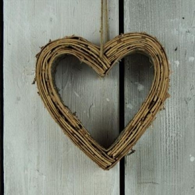 Birch Wooden Hanging Heart Decoration title=