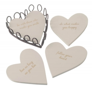 Set of 4 Follow Your Heart Slogan Coas..