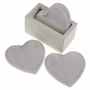 Set of 4 Chunk White Wooden Heart Coas..