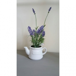 Faux Artificial Lavender in Ceramic Teapot