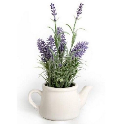 Faux Artificial Lavender in Ceramic Teapot title=