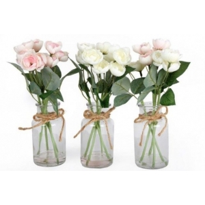 Faux Roses Spray in Clear Glass Bottle..