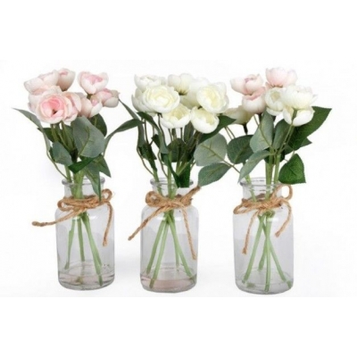 Faux Roses Spray in Clear Glass Bottle Vase title=