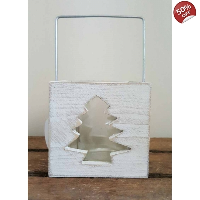 Whitewash Christmas Tree Cut Out Candle Holder title=