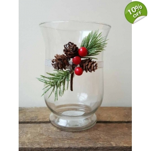 Christmas Hurricane Candle Holder with..