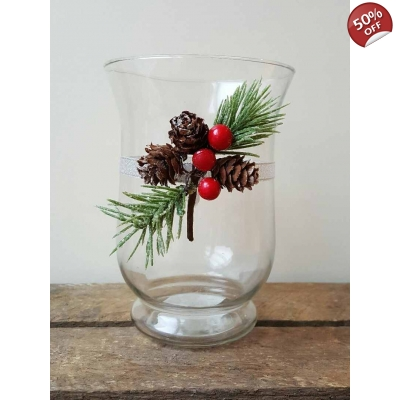 Christmas Hurricane Candle Holder with Pine Cone Decoration title=