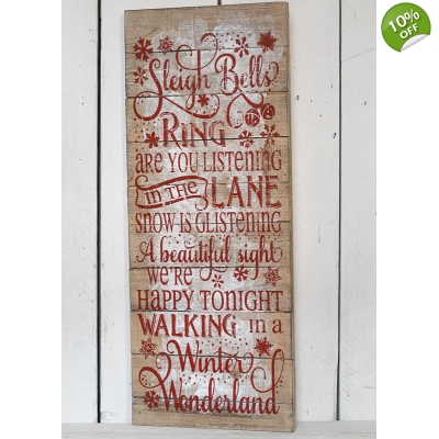 Extra Large 'Sleigh Bells' Wooden Christmas Plaque title=