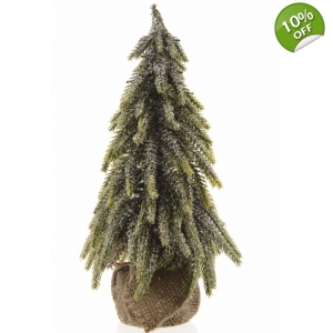 Snowy Christmas Tree in Hessian Sack