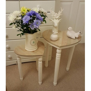 Set of Two Rustic Heart Tables