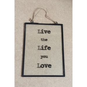 'Live Life Love' Glass and Metal Frame Hanging Plaque