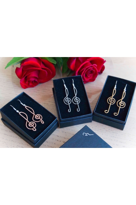 Guitar String Earrings - Treble Clef