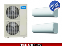 Midea 20.5 Seer 2x24000btu Dual Zone Mini Split ..