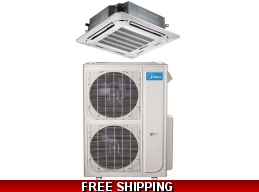 Midea 48000 Btu 16.8 Seer Ceiling Cassette Mini Split Heat Pump AC