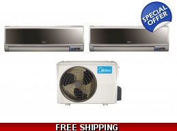 Midea 21 Seer 2x12000Btu Vertu 2 Zone Mini Split Heat Pump AC