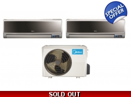 Midea 21 Seer 2x18000Btu Vertu 2 Zone Mini Split Heat Pump AC