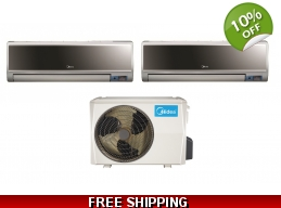 Midea 2x18000Btu Vertu 2 Zone Mini Split Heat Pu..