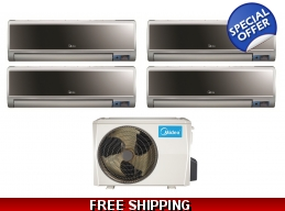 Midea 21 Seer 4x9000btu Vertu 4 Zone Mini Split Heat Pump AC
