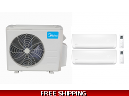 Midea 21 Seer 2×18000 Btu 2 Zone Mini Split Heat Pump AC