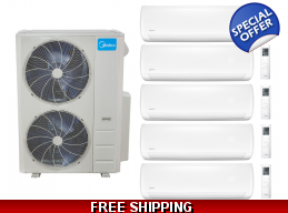 Midea 21 Seer 5 Room 5x9000btu Quint Zone Mini Split Heat Pump AC