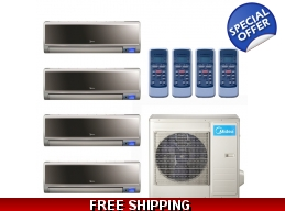 Midea 16 Seer 2x9000 & 2x12000btu Vertu 4 Zone Mini Split Heat Pump AC