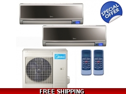 Midea 16 Seer 2x9000Btu Vertu 2 Zone Mini Split Heat Pump AC