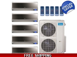 Midea 20.5 Seer 3x9000+2x12000btu Vertu 5 Zone Mini Split Heat Pump AC