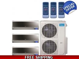 Midea 20.5 Seer 2x18000+9000btu Vertu 3 Zone Mini Split Heat Pump AC