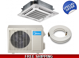 Midea 24000 Btu 16.5 Seer Ceiling Cassette Mini Split Heat Pump AC