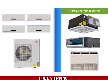 YMGI Multi 4 Zone 30K Mini Split Heat Pump AC Ductless Cassette Ducted