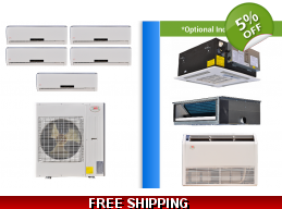 YMGI Multi 5 Zone 42K Mini Split Heat Pump AC Ductless Cassette Ducted