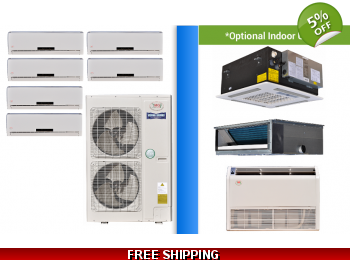 YMGI Multi 6 Zone 47K Mini Split Heat Pump AC Ductless Cassette Ducted