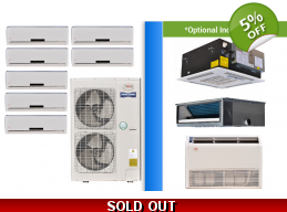 YMGI Multi 7 Zone 47K Ductless Heat Pump AC Console Cassette Ducted
